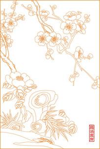 梅花线描雕刻图案