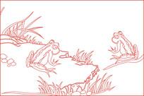 青蛙线描雕刻图案