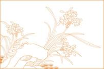 水仙花线描雕刻图案