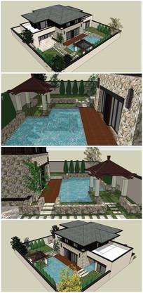 现代风格别墅庭院SU模型