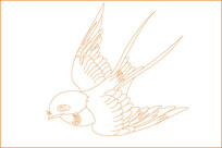 燕子线描雕刻图案