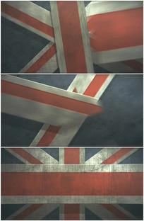 英国国旗油画风格出现背景视频