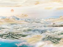 大气磅礴日出东方大理石背景墙
