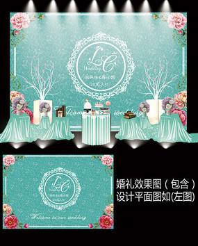 蒂芙尼花卉婚礼签到牌设计
