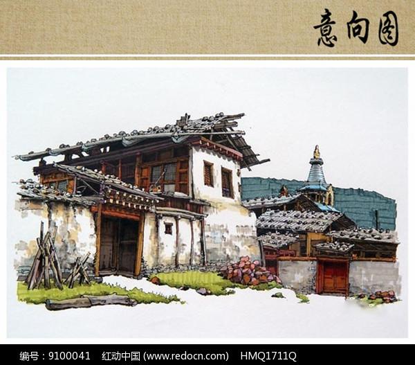乡村风貌建筑手绘图片