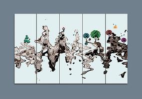 抽象水墨条屏新中式装饰画