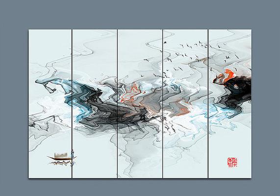 水墨山水画中国风壁纸