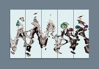 新中式写意玄关抽象水墨画