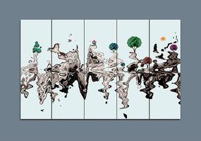 中國風條屏禪意畫裝飾畫