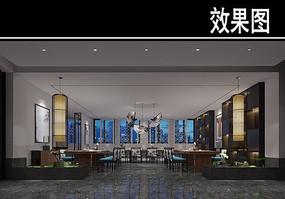 壁画中式风茶馆大厅效果图