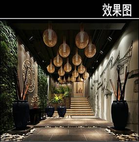 传统中式茶馆入口效果图