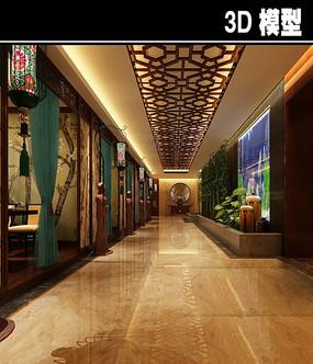 传统中式茶馆走廊模型