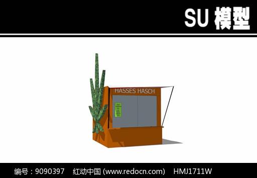 大麻叶子售卖亭SU模型图片