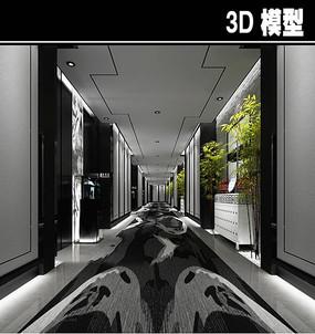 黑白灰茶馆走廊模型