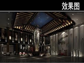 黑色风中式茶馆大厅效果图