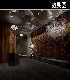 黑色风中式茶馆入口效果图