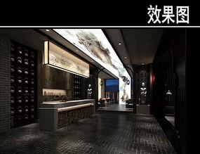 黑色中式风茶馆前台效果图