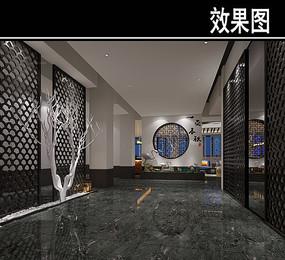 黑色中式风茶馆效果图