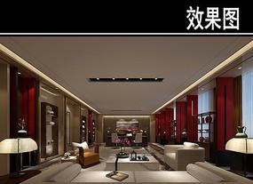 红色中式风茶馆效果图
