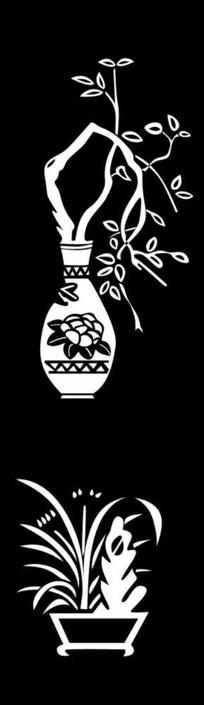 花瓶兰花雕刻图案