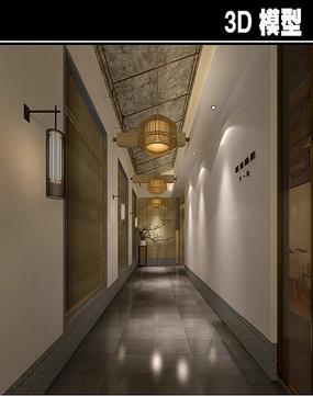 日式中式风茶馆走廊模型
