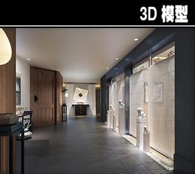 石狮子元素茶馆包厢走廊模型