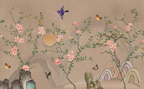 手绘花鸟背景墙