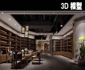 书房式原木色茶馆模型