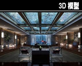 水中创意中式茶馆模型