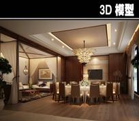 现代淡雅风带帘子茶馆包厢模型