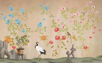 新中式花鸟丹顶鹤背景墙