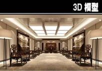 中式茶馆会议室模型