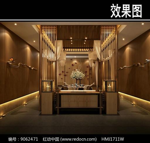 中式茶馆四周镂空效果图图片
