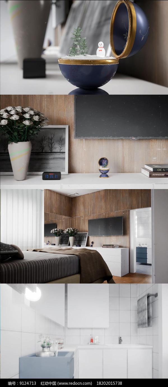 3D简约室内装修展示动态视频图片