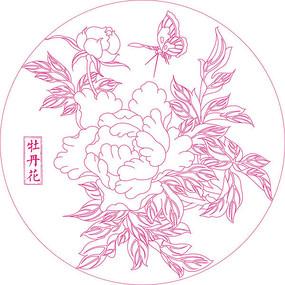 传统牡丹花纹线描雕刻图案