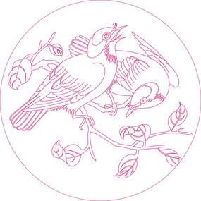 传统鸟纹线描雕刻图案 CDR
