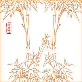 富贵竹线描雕刻图案 CDR
