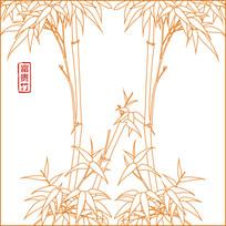 富贵竹线描雕刻图案