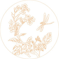 蜻蜓花纹雕刻图案