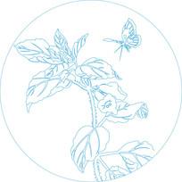 蝴蝶花草纹雕刻图案