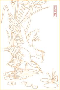 简约丹顶鹤雕刻图案