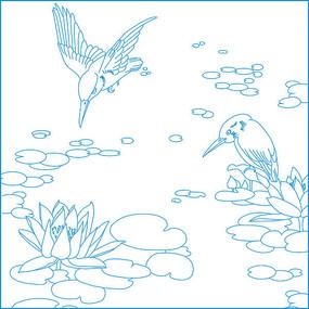 简约荷花鸟纹雕刻图案 CDR
