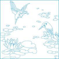 简约荷花鸟纹雕刻图案