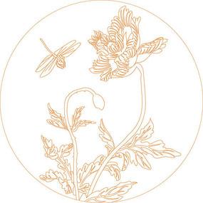 简约蜻蜓花纹雕刻图案 CDR