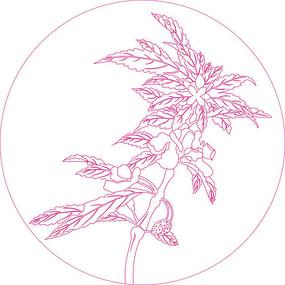简约花纹线描雕刻图案 CDR