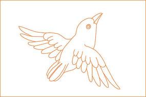 简约鸟纹线描雕刻图案