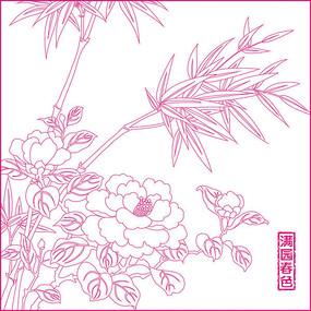 满园春色花纹雕刻图案 CDR