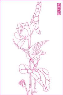 满园春色线描雕刻图案