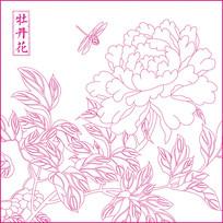 牡丹花纹线描雕刻图案