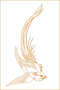 时尚鸟纹线描雕刻图案